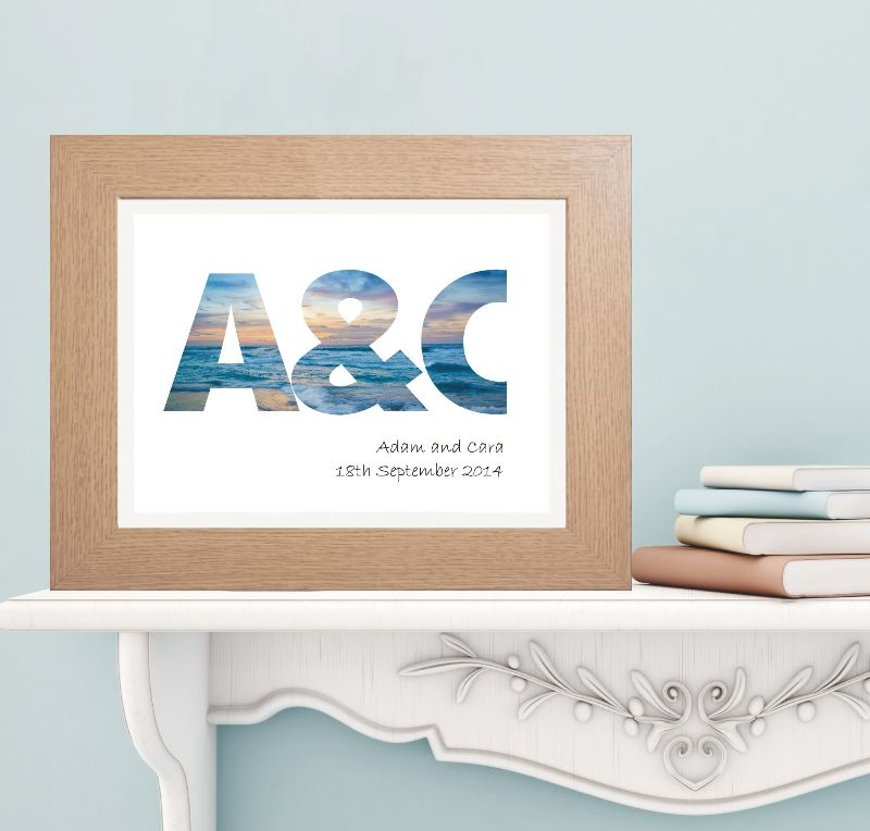 Ocean Sunset Initials Print Personalised Wedding